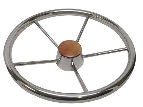 Pactrade Marine Boat Stainless Steel Five Spoke Steering Wheel with Bakelite Cap, 13.75' L