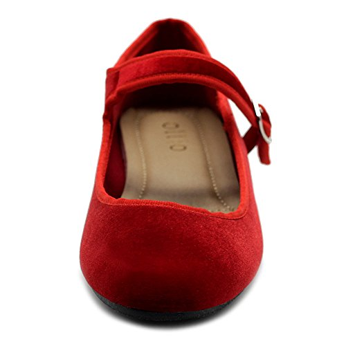 Red Suede Flat Velvet Jane Mary Faux Ballet or Shoes Womens Ollio qUHvff