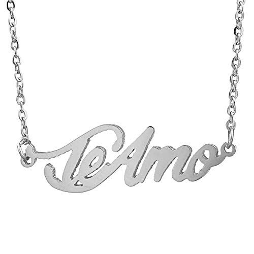 - HUAN XUN Stainless Steel Unique Hand writting Name Necklace Valentine's Gift, Teamo