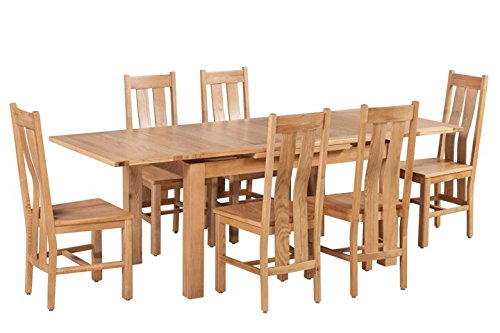 (Trithi Furniture Rancho American Solid Oak Extendable Table and Wood Seat Chair Set of 7 (Light Dark)