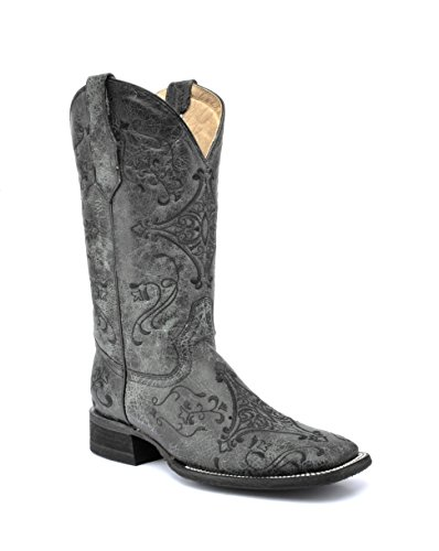 Corral Circle G Boot Women's 12-Inch Distressed Leather Embroidery Square Toe Black/Grey Western - Womens Square Whimsical