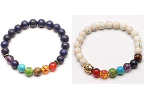 ILOVEDIY 2X Lava Armband, Unisex Zen-Buddhismus Armreif Energietherapie Yoga-Armband 7 Chakra Healing Wurzelchakra Armband