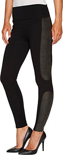 SPANX Women's Panel Leather Ponte Leggings Very Black Medium 26 - Faux Leather Panel Leggings