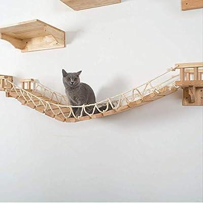 HMJ Gato Hamaca Gato Colgante de Pared Escalera de Madera Gato Pilar rascador Árbol Muebles de Gato Plataforma de Salto Madera: Amazon.es: Productos para mascotas
