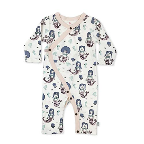 Finn + Emma Organic Cotton Coverall Jumpsuit for Baby Boy or Girl - Mermaids, 3-6 Months