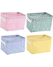 MSTEKI 4 Packs Storage Bins Fabric Storage Basket Waterproof for Desk Storage and Household Organizer, Foldable Storage Box Small Basket with Handle for Bathroom, Makeup, Books, Nursery, Playroom