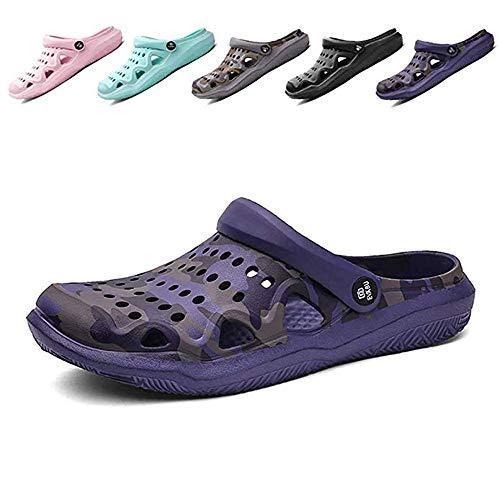 Cyiecw Men's Women's Garden Clogs Outdoor Walking Slippers Summer Mules Shoes Quick Drying Mesh Beach Indoor Outdoor Shoes Purple ()