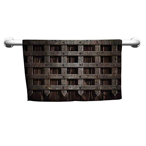 - flybeek Art Towel Medieval,Medieval Wooden Castle Wall and Gate Greek Style Mid-Century Designed Artwork Print,Grey,Outside Towel Rack for Pool