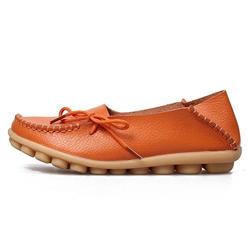 Yixinan Mode Flats Leren Casual Veterschoenen Voor De Vrouw Oranje