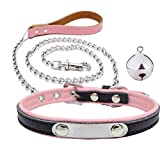 QIHUOKEJU Hot PU Leather BDSM Collar & Metal Chain Leash Erotic Toys Fetish Slave Torture Sex Toys