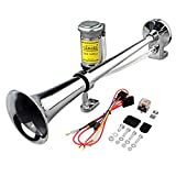 Automotive : GAMPRO 12V 150db Air Horn, 18 Inches Chrome Zinc Single Trumpet Truck Air Horn with Compressor for Any 12V Vehicles Trucks Lorrys Trains Boats Cars (Silver)