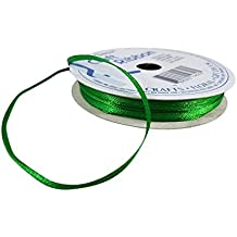 Satin Christmas Ribbon for Crafts, Bows, Scrapbooking, Cardmaking, Assorted Solid Colors and Sizes (Green 1/8)