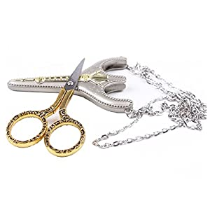 BIHRTC Stainless Steel Sharp Tip Sewing Snips Thread Cutter Scissors with Sheath Chain for Embroidery, Sewing, Craft, Art Work & Everyday Use