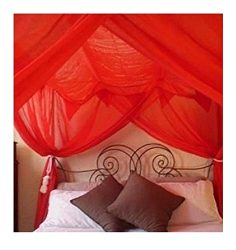 Bedroom Poster Full Bed - OctoRose 4 Poster Bed Canopy Netting Functional Mosquito Net, Red