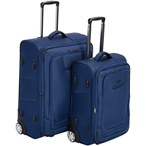 AmazonBasics Premium Upright Expandable Softside Suitcase with TSA Lock 2-Piece Set - 22/26-Inch, Blue