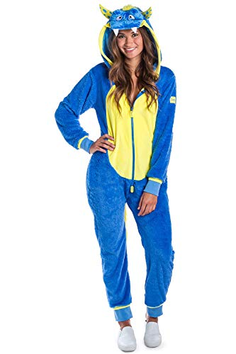 Tipsy Elves Funny Women's Monster Costume for Halloween - Blue Furry Monster Outfit Jumpsuit Onesie: Large -