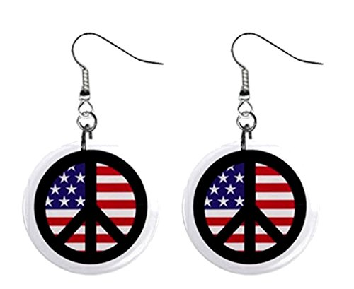 American Flag Peace Sign Dangle Earrings Jewelry 1 inch Buttons - Sign Flag Peace Buttons