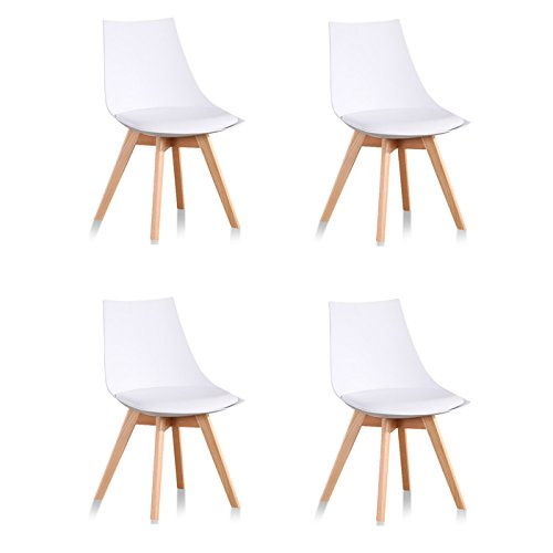 Lot de 4 chaises scandinaves blanches - Prague