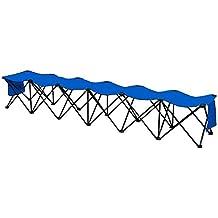 Yaheetech Portable 6 Seats Sports Bench Sits Team Sports Sideline Bench Outdoor Waterproof w/Side Bag Black/Blue