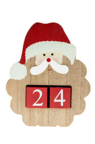 Count Down Santa's Beard Advent Calendar Blocks | Days Until Christmas | 100% Wood Build | Red, White, And Brown | Measures 4.75