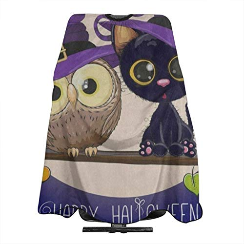 Happy Halloween Cartoon Cat Owl Full Moon Salon Hair Cutting Cape Cloth Inspiring Hair Dye Apron For Profession -