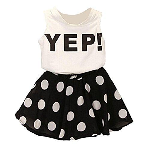 Highpot Kid Girl(2~7T) White Letter Sleeveless Shirt Vest+Black Dots Skirt 2PCS (100(2-3T), White) (Kids Black And White Striped Tights)