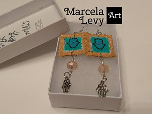 Hamsa handpainted canvas earrings. Ideal gift for her. Includes 1 mini canvas paintings. All handmade. Each pair of earrings is unique