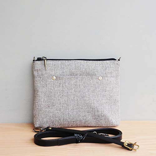 Handcrafted Tweed Crossbody or Shoulder Purse in Light Grey with Custom Length Leather Strap. Available in 3 Hardware Finishes, USA Made