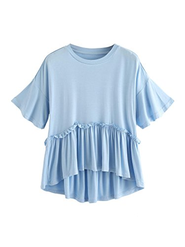 Romwe Women's Loose Ruffle Hem Short Sleeve High Low Peplum Blouse Top Light Blue - Sleeve Short Girls Dip