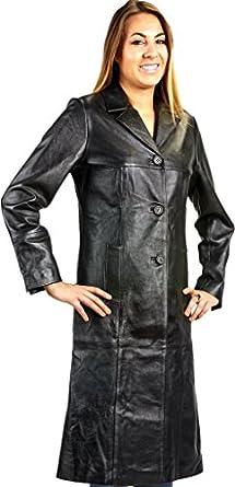Ladies 3 Button Matrix Black Long Leather Coat at Amazon Women's ...