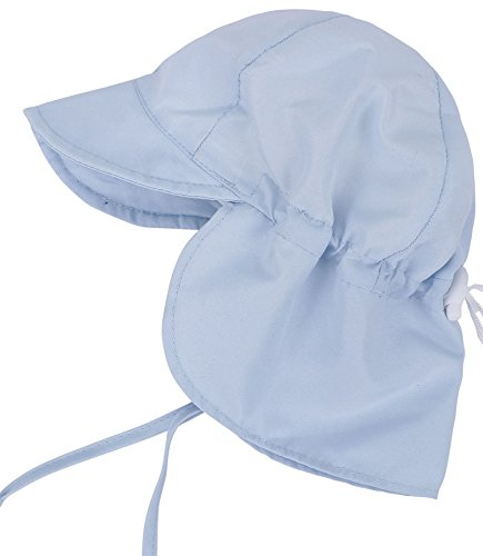 Uv Protection Babies - SimpliKids UPF 50+ UV Ray Sun Protection Baby Hat w/ Neck Flap & Drawstring,Light Blue,0-12 Months