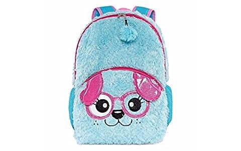Kids Girls 16 Inch Plush Blue Puppy Dog Backpack - Blue Puppy Plush
