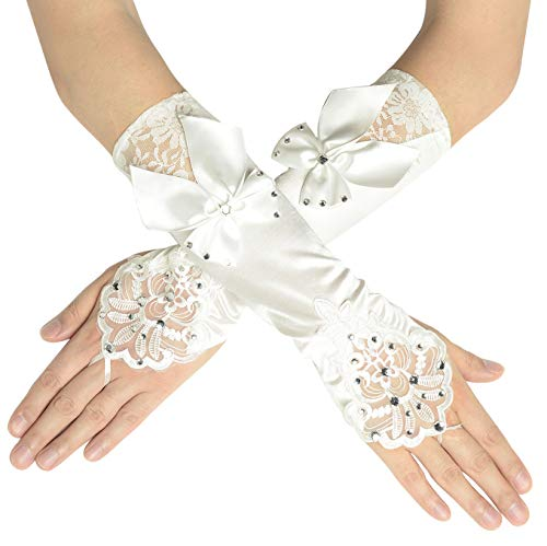 BABEYOND Long Opera Party 20s Satin Gloves Stretchy Adult Size Lace Tea Party Gloves 13.8 Inches (White)