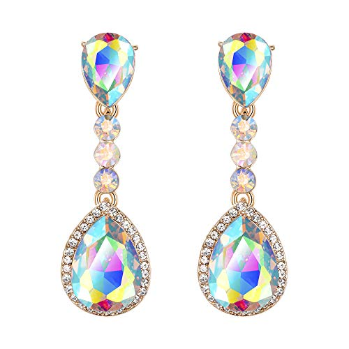BriLove Wedding Bridal Clip-On Earrings for Women Crystal Teardrop Infinity Figure 8 Chandelier Dangle Earrings Iridescent AB Gold-Toned ()