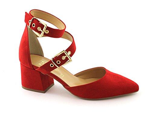 Divine Madness 4003 Rote Sandalen Frauen Fersenriemen Schnallen Rosso