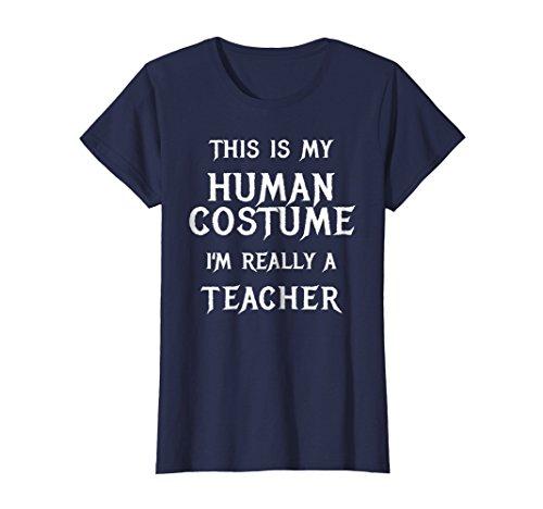 Womens School Teacher Halloween Costume Shirt Easy Funny Idea XL Navy for $<!--$19.99-->