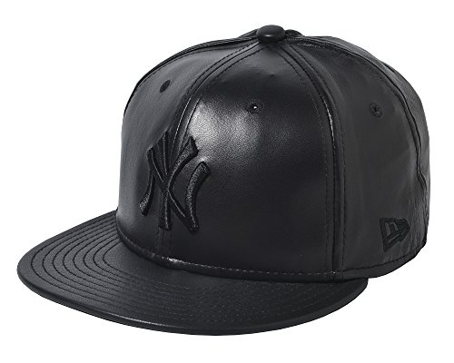 New Era New York Yankees Lam Leather Fitted Cap in Black (8) - New Era Leather Cap