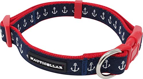 Nauticollar Nautical Anchor Nylon Ribbon Collar (Large)