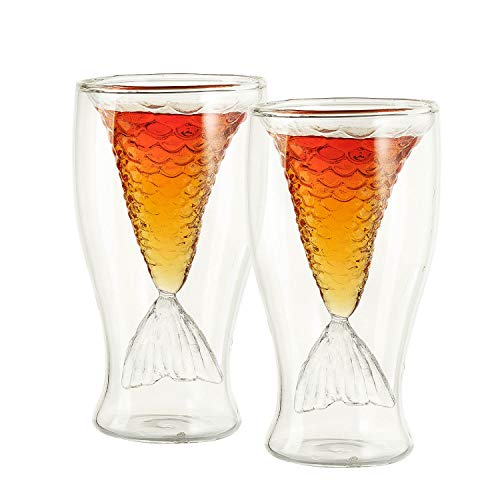 Mermaid Tail Glasses 2 pack - The Wine Savant 100ml Pack of 2 Tall Borosilicate Cocktail Drinking Glassware, Can Also Be Used as Shot Glass, for Beer,Wine, Juice, Or Any Drink (Glass Shot Mermaid)