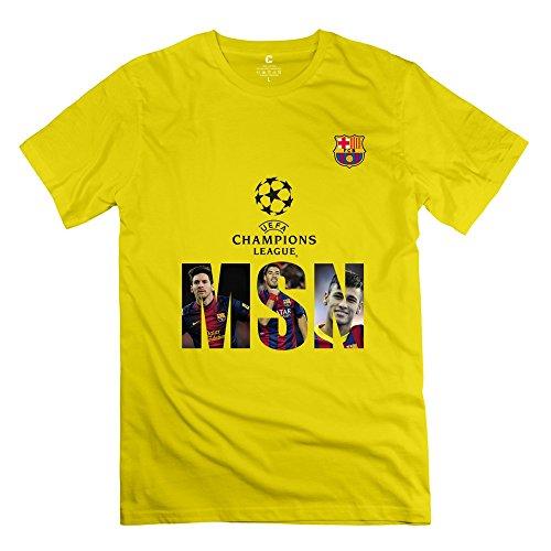 Man's Pre-cotton 2015 Champions League UEFA Barcelona MSN Team Fitted Tshirts XL