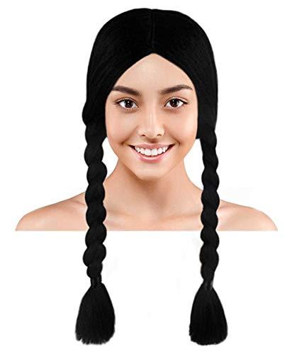 Wednesday Addams Braided Gothic Wig   Black TV/Movie Wigs]()