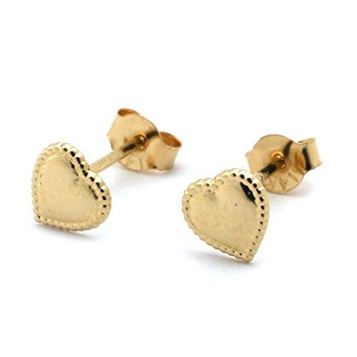 14k Yellow Gold Tiny Milgrain Edge Heart Stud (Gold Milgrain Heart)