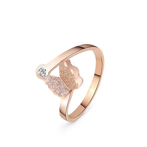 XAvoe Rose Gold Butterfly Crystal Zircon Open Rings for Women Titanium Steel Fashion Jewelry Size 7
