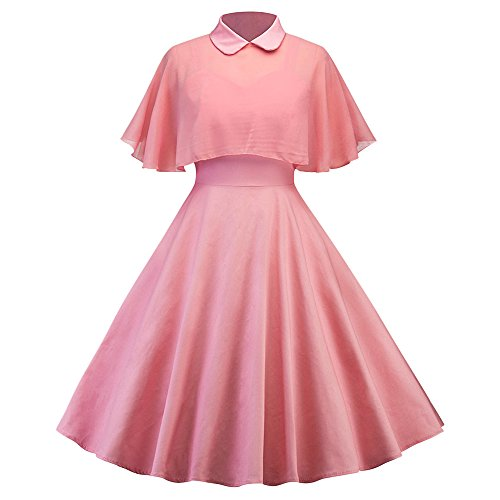 CharMma Women's Vintage Peter Pan Collar Pin Up Dress With Sheer Mesh Cape (Pink, M) -