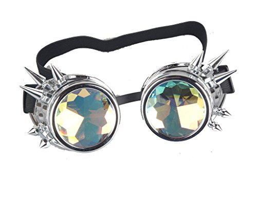 Cyber Goth - FUT ABS Rainbow Spiked Steampunk Goggles Kaleidoscope Rave Lenses Cyber Welding Goth Cosplay Vintage Goggles