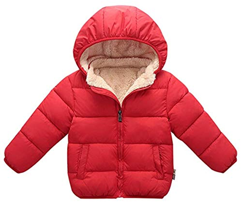 Unisex Baby Cotton Down Hooded Jacket Winter Warm Long Sleeve Fleece Coat Clothing Size 110cm Red