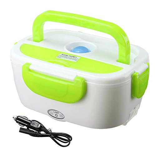 Portable Lunch Box Food Heater Storage Container Bento Travel Meal Food Warmer Electric 12V Car Plug 40W   Green