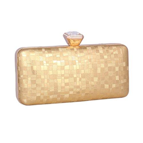 Day of Saturn Señoras Bolsa De Embrague De Cuero Brillante Boquilla Con Diamante Bling Elegante Por Cócteles Tipo Cuadrado,Plateado Dorado