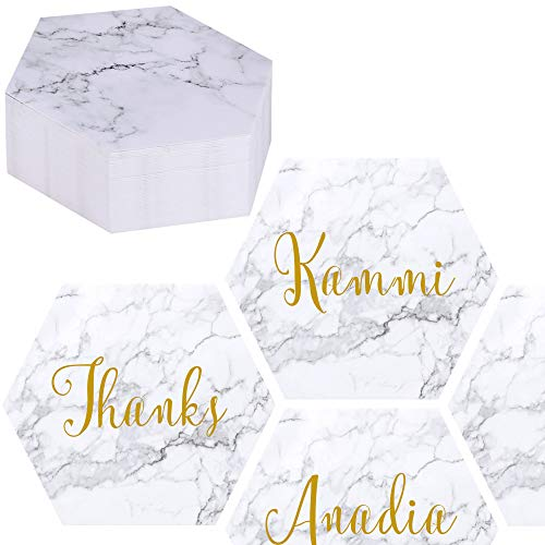 EXQUISS 50 Packs Marble Pattern Hexagon Blank Place Cards Table Name Tags Reserved Cards Seating Cards Notes Cards Message Cards-3.6 for Reception Wedding Baby Showers Dinner Party (Paper)