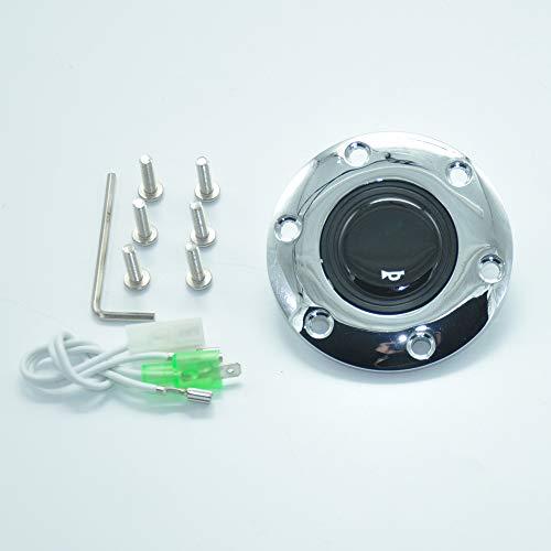 (Universal 6 Holes Black Chrome Stainless Steel Steering Wheel Car Steering Wheel Horn Button)